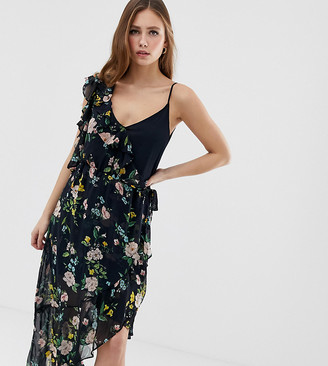 Bershka One Sleeve Floral Tea Dress-Black