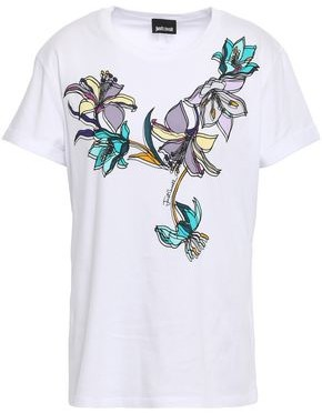 Just Cavalli Floral-print Stretch Cotton-jersey T-shirt