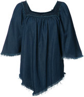NSF fringed denim blouse