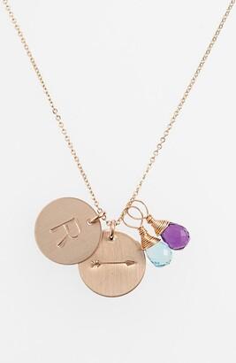 Nashelle Quartz Initial & Arrow 14k Gold Fill Disc Necklace