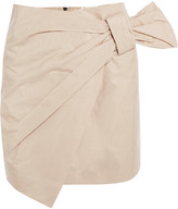 Isabel Marant Anders Wrap-effect Coated Cotton-blend Mini Skirt - Off-white