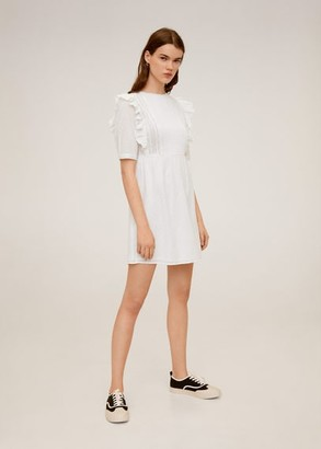 MANGO Guipure cotton dress off white - 2 - Women