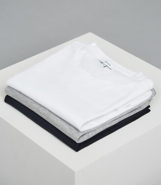 Reiss Bless - Three Pack Of Crew Neck T-shirts in WHITE/ SOFT GREY/ NAVY