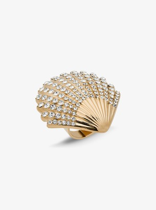 Michael Kors Gold-Tone Pave Clamshell Ring