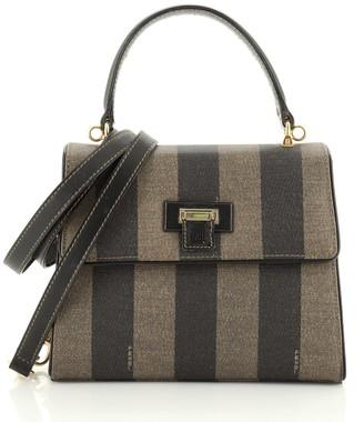 Fendi Vintage Top Handle Flap Bag Pequin Coated Canvas Mini
