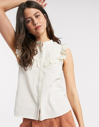 Vero Moda blouse with high neck and broderie sleeve detail in cream