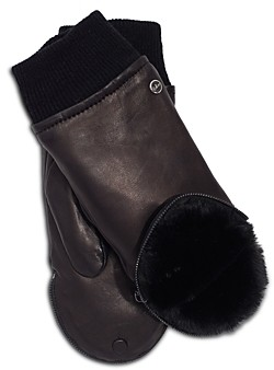 Echo Zip Top Leather & Faux Fur Mitten