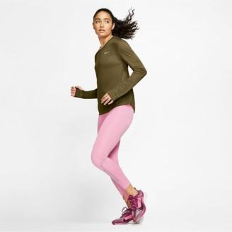 Nike Running Long SleeveMiler Top - Olive