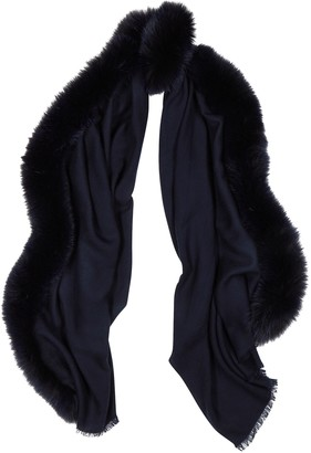 AMA Pure Navy Fur-trimmed Wool Scarf