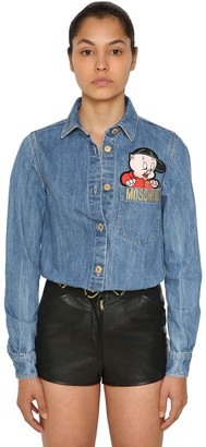 Moschino Embroidered Logo Cotton Denim Shirt