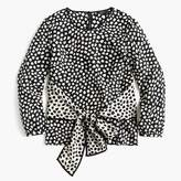 J.Crew Tie-front silk top in pebble print