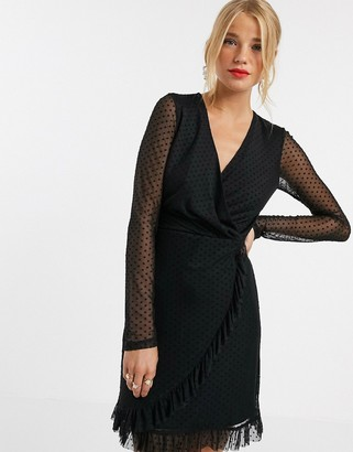 Miss Selfridge dobby mesh mini dress in black