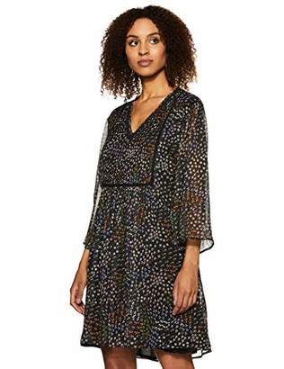 Boho thread Women's V Neck Dress Black with Multi Print