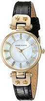 Anne Klein Women's AK/1950MPBK Gold-Tone and Black Leather Strap Watch