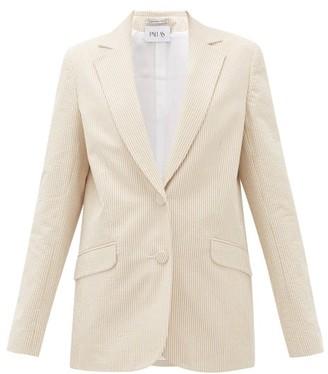 Pallas X Claire Thomson-jonville - Gelato Single-breasted Cotton-seersucker Jacket - Womens - Beige Stripe