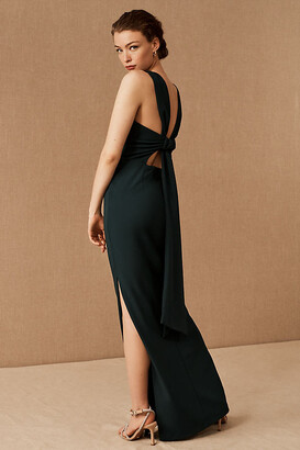 BHLDN London Crepe Tie-Back Dress By in Green Size 10