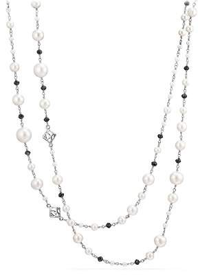 David Yurman Oceanica Cultured Freshwater Pearl and Bead Link Necklace with Black Spinel