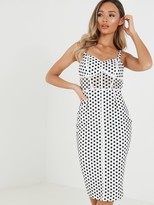 Quiz Polka Dot Corset Detail Strappy Midi Dress - Black/White