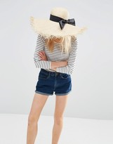 Asos Raw Edge Oversized Straw Floppy Hat With Bow