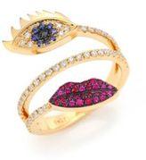 Delfina Delettrez Marry Me Blue Sapphire, Diamond, Rubies & 18K Yellow Gold Eyes & Lips Ring