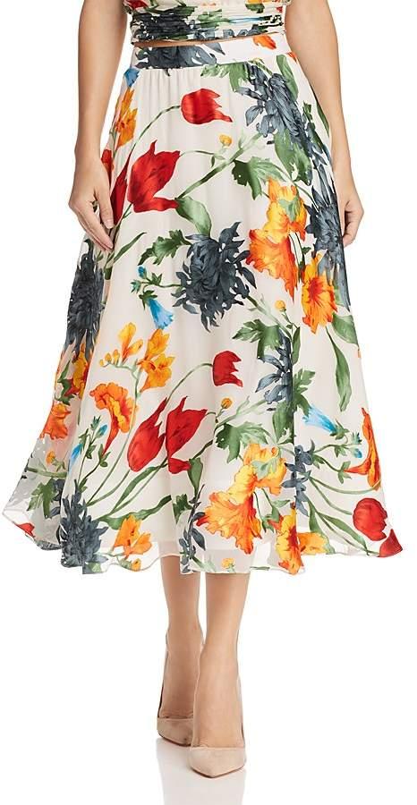 Alice + Olivia Earla Floral Burnout Midi Skirt