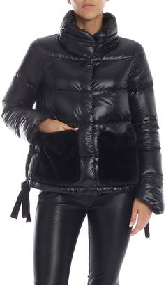 Herno Nylon Down Jacket With Faux Fur Pockets
