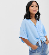 Asos DESIGN Petite short sleeve crinkle shirt with tie front detail