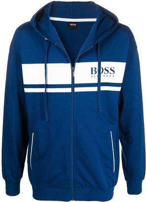 HUGO BOSS Logo-Stripe Zipped Hoodie
