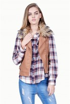 Select Fashion Fashion Womens Brown Fur Collar Pu Gilet - size 6