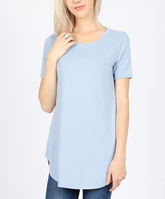 Ash Zenana Women's Tee Shirts  Blue Round-Hem Crewneck Tee - Women & Plus