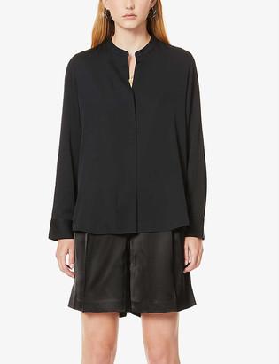Vince Mandarin-collar stretch-silk shirt