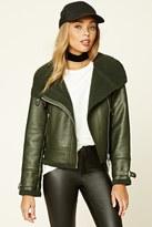 Forever 21 FOREVER 21+ Faux Fur-Lined Moto Jacket