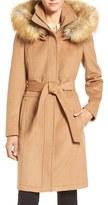Ivanka Trump Women's Wool Blend Coat With Removable Faux Fur Trim Hood