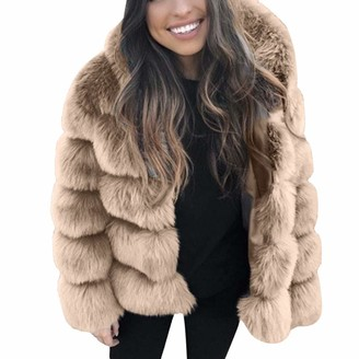 waitFOR Sale Faux Fur Warm Coat for Women Hooded Faux Mink Jacket Ladies Solid Color Long Sleeve Thick Outerwear Fashion Thermal Overcoat Trenchcoat Windbreaker Khaki