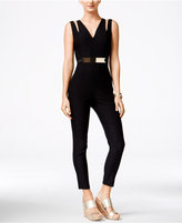 Material Girl Juniors' Sleeveless Belted Jumpsuit, Only at Macy's