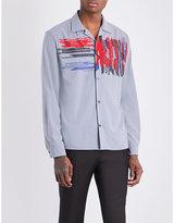 Salvatore Ferragamo Scribble embroidered slim-fit cotton shirt