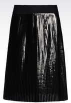 Emporio Armani Plissé Skirt Laminated Effect