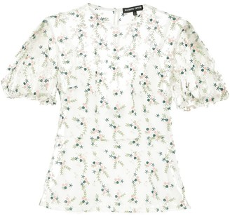 Markus Lupfer Floral Embroidered Sheer Top