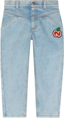 Gucci Children's denim jeans with GG apple
