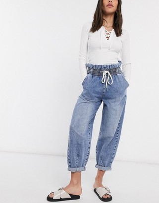 Bershka elasticated waist slouchy jean with tie detail in blue