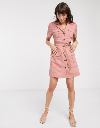 And other stories & multi-pocket mini utility dress in dusty pink