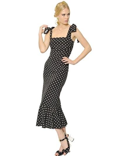 Dolce & Gabbana Dotted Silk Stretch Charmeuse Dress