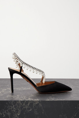 Aquazzura Exquisite 85 Crystal And Faux Pearl-embellished Grosgrain Slingback Pumps - Black