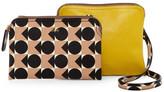 Orla Kiely Spot Square Triangle Print Vinyl Double Poppy Bag