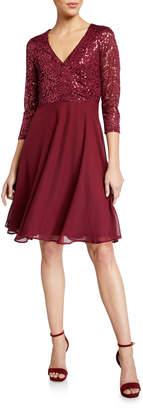 Marina Lace Chiffon Fit-And-Flare Cocktail Dress