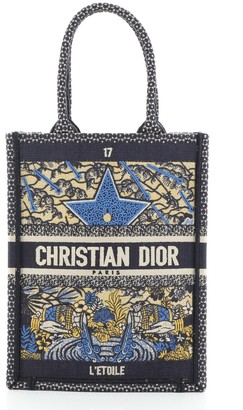 Christian Dior Book Tote Embroidered Canvas Vertical