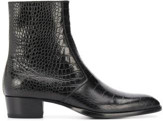 Saint Laurent Wyatt crocodile-embossed boots