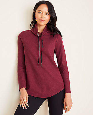 Ann Taylor Brushed Flannel Drawstring Neck Tunic