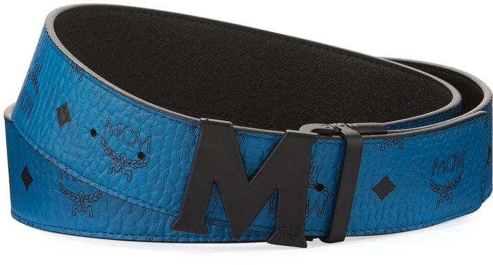 MCM Visetos Reversible Matte-Buckle Belt