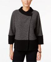 JM Collection Petite Colorblocked Wool Jacket, Only at Macy's